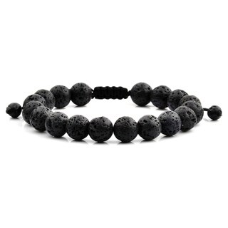 Men's Black Lava Polished Natural Healing Stone Bead Adjustable Bracelet - 8 inches (10mm Wide)