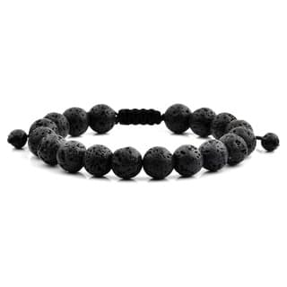 Black Lava Natural Healing Stone Bead Adjule Bracelet 10mm