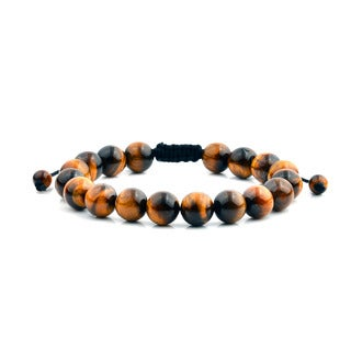 Men's Tiger Eye Polished Natural Healing Stone Bead Adjustable Bracelet - 8 inches (10mm Wide)
