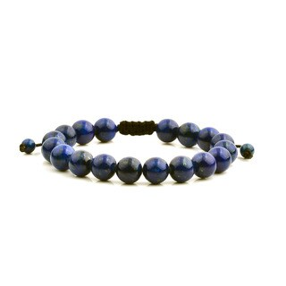 Men's Lapis Lazuli Natural Healing Stone Bead Adjustable Bracelet (10mm) - Blue