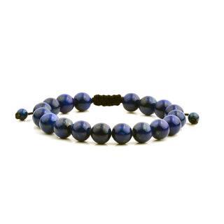 Men's Lapis Lazuli Natural Healing Stone Bead Adjustable Bracelet (10mm) - Blue