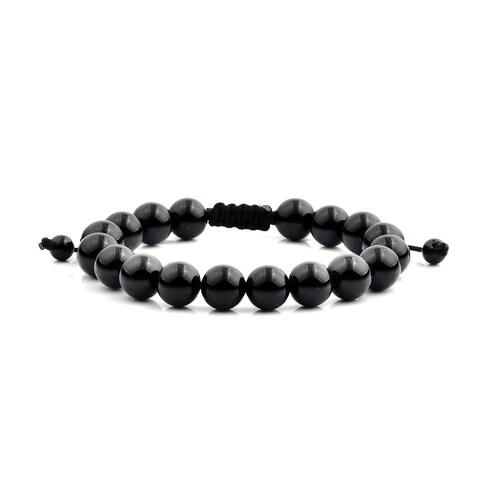 Men's Onyx Natural Healing Stone Bead Adjustable Bracelet (10mm Wide) - Black