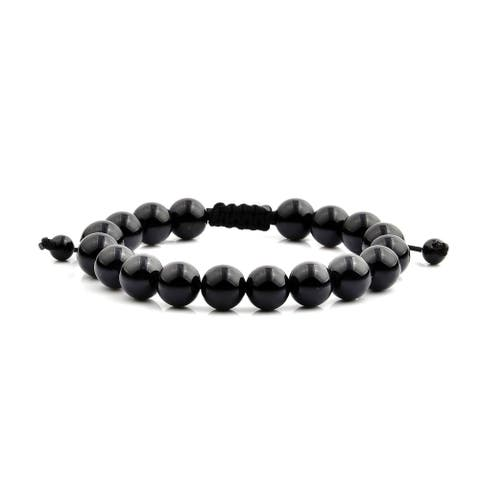 Men's Onyx Natural Healing Stone Bead Adjustable Bracelet (10mm Wide)