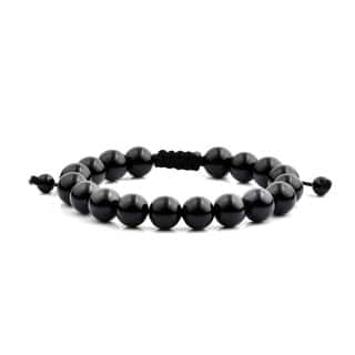 Men's Black Onyx Polished Natural Healing Stone Bead Adjustable Bracelet - 8 inches (10mm Wide)|https://ak1.ostkcdn.com/images/products/13537297/P20217196.jpg?impolicy=medium
