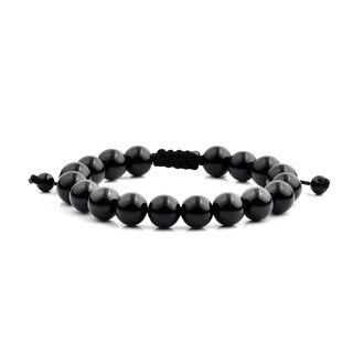 Men's Onyx Natural Healing Stone Bead Adjustable Bracelet (10mm Wide) - Black