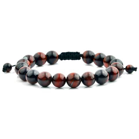 Red Tiger Eye Natural Healing Stone Adjustable Bracelet (10mm)