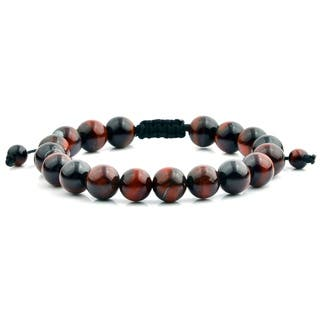 Men's Red Tiger Eye Polished Natural Healing Stone Bead Adjustable Bracelet - 8 inches (10mm Wide)|https://ak1.ostkcdn.com/images/products/13537300/P20217195.jpg?impolicy=medium