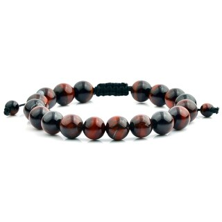 Men's Red Tiger Eye Natural Healing Stone Bead Adjustable Bracelet (10mm)