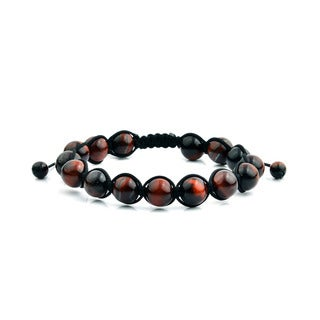 Men's Red Tiger Eye Polished Natural Healing Stone Bead Adjustable Bracelet - 8 inches (10mm Wide)