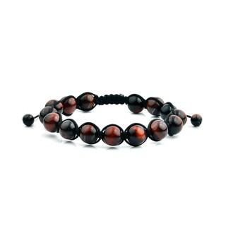 Men's Red Tiger Eye Natural Healing Stone Bead Adjustable Bracelet (10mm)