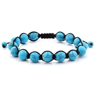 Men's Turquoise Polished Natural Healing Stone Bead Adjustable Bracelet - 8 inches (10mm Wide)