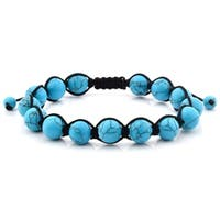 Men's Turquoise Natural Healing Stone Bead Adjustable Bracelet (10mm)