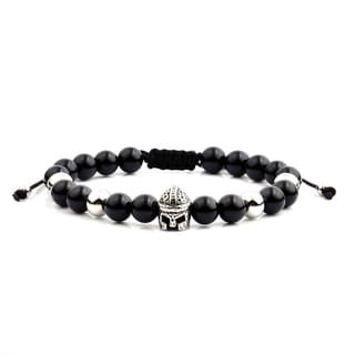Men's Black Onyx Stainless Steel Spartan Helmet Bead Adjustable Bracelet - 8 inches (8mm Wide)
