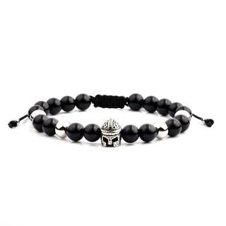 Men'S Black Onyx Stainless Steel Spartan Helmet Bead Adjustable Bracelet - 8 Inches (8Mm Wide)