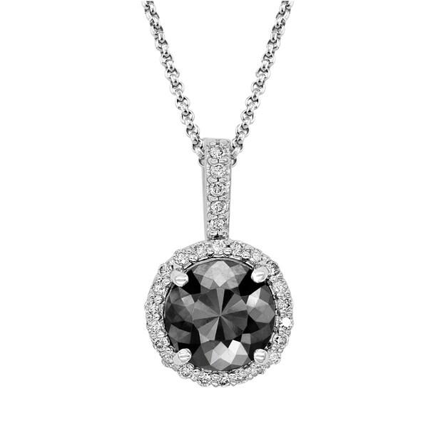 6542fc542 Elegant 1.60ct Patented Round Black Diamond Pendant with White Diamond  Halo, 14k Gold