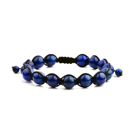 Lapis Lazuli Natural Healing Stone Bead Adjustable Bracelet (10mm) - Blue