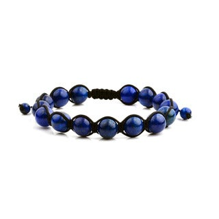 Men's Lapis Lazuli Polished Natural Healing Stone Bead Adjustable Bracelet - 8 inches (10mm Wide)