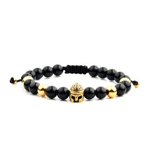 Men's 18K Gold Plated Stainless Steel Spartan Helmet Onyx Bead Adjustable Bracelet - 8 inches (8mm Wide)