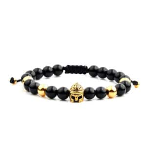 Men'S Gold Plated Stainless Steel Spartan Helmet Onyx Bead Adjustable Bracelet - 8 Inches (8Mm W|https://ak1.ostkcdn.com/images/products/13537320/P20217203.jpg?impolicy=medium