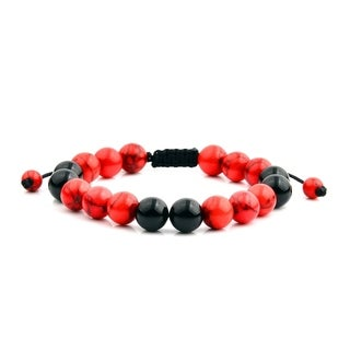 Men's Red Turquoise and Onyx Natural Healing Stone Bead Adjustable Bracelet (10mm)
