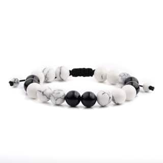 Men's White Turquoise and Black Onyx Polished Natural Healing Stone Bead Adjustable Bracelet - 8 inches (10mm Wide)|https://ak1.ostkcdn.com/images/products/13537324/P20217206.jpg?impolicy=medium