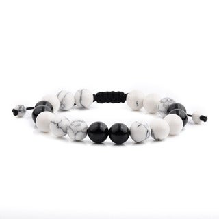 Men's White Turquoise and Black Onyx Polished Natural Healing Stone Bead Adjustable Bracelet - 8 inches (10mm Wide)