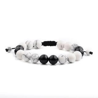 Men's Howlite and Onyx Natural Healing Stone Bead Adjustable Bracelet (10mm) - White