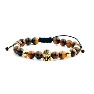 Men's 18K Gold Plated Stainless Steel Spartan Helmet Tiger Eye Adjustable Bracelet - 8 inches (8mm Wide)