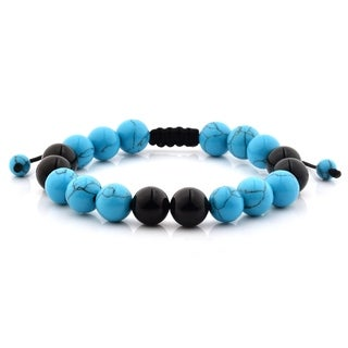 Men's Turquoise and Black Onyx Polished Natural Healing Stone Bead Adjustable Bracelet - 8 inches (10mm Wide)