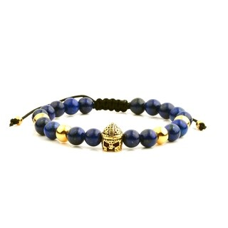Men's 18K Gold Plated Stainless Steel Spartan Helmet Lapis Lazuli Adjustable Bracelet - 8 inches (8mm Wide)