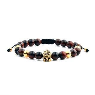 Men's 18K Gold Plated Stainless Steel Spartan Helmet Red Tiger Eye Adjustable Bracelet - 8 inches (8mm Wide)