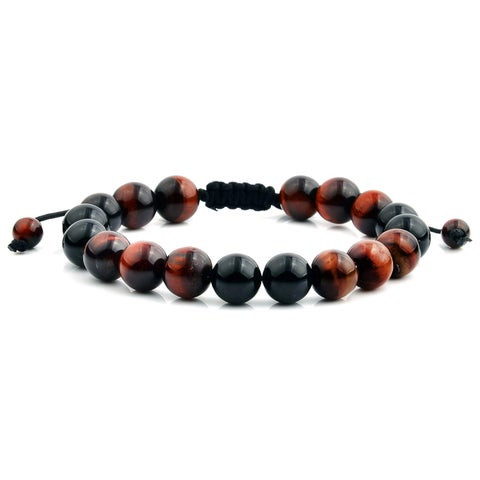 Men's Red Tiger Eye and Onyx Natural Healing Stone Bead Adjustable Bracelet (10mm)