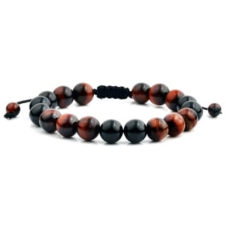 Men's Red Tiger Eye and Black Onyx Polished Natural Healing Stone Bead Adjustable Bracelet - 8 inches (10mm Wide)