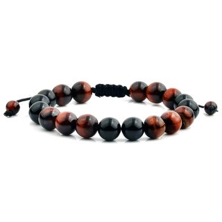 Red Tiger Eye and Onyx Natural Healing Stone Adjustable Bracelet (10mm)