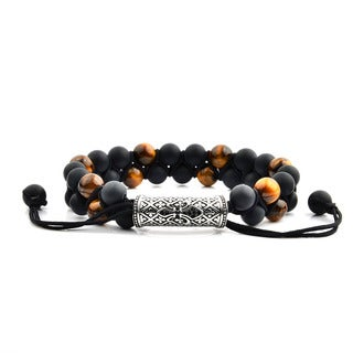 Men's Tiger Eye and Black Onyx Stainless Steel Cubic Zirconia Fleur de Lis Bead Adjustable Bracelet - 8 inches (15mm Wide)
