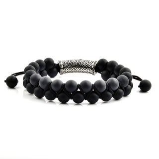 Men's Matte Black Onyx Stainless Steel Cubic Zirconia Fleur de Lis Bead Adjustable Bracelet - 8 inches (15mm Wide)