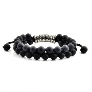 Men's Matte Black Onyx Stainless Steel Cubic Zirconia Fleur de Lis Bead Adjustable Bracelet - 8 inches (15mm Wide)