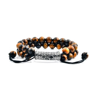 Men's Tiger Eye Stainless Steel Cubic Zirconia Fleur de Lis Bead Adjustable Bracelet - 8 inches (15mm Wide)