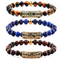 Men's Gold Plated Stainless Steel Fleur de Lis Tiger Eye Bead Stretch Bracelet
