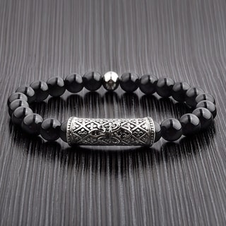 Men's Black Onyx Stainless Steel Cubic Zirconia Fleur de Lis Bead Stretch Bracelet - 8 inches (8mm Wide)