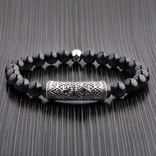 Men's Black Onyx Stainless Steel Fleur de Lis Bead Stretch Bracelet