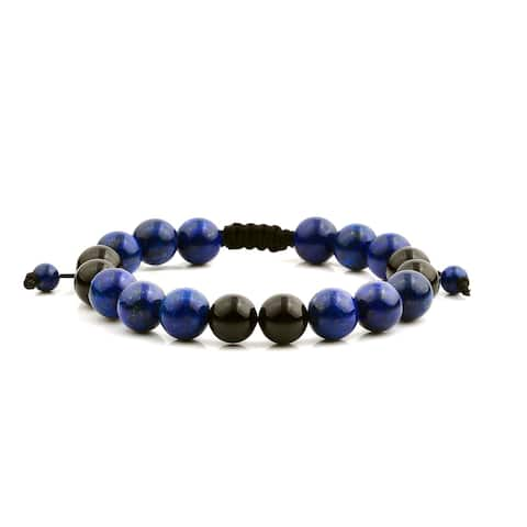Men's Lapis Lazuli and Onyx Natural Healing Stone Bead Adjustable Bracelet (10mm) - Blue
