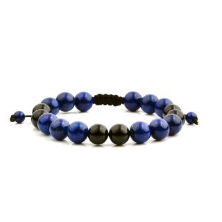 Men's Lapis Lazuli and Black Onyx Polished Natural Healing Stone Bead Adjustable Bracelet - 8 inches (10mm Wide)