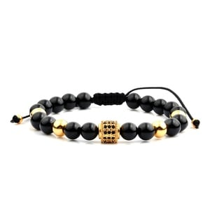 Men's Gold Plated Stainless Steel Cubic Zirconia Black Onyx Bead Adjustable Bracelet - 8 inches