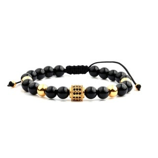 Men's Gold Plated Stainless Steel Cubic Zirconia Black Onyx Bead Adjustable Bracelet - 8 inches (2 options available)