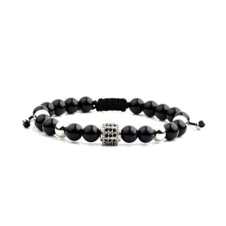 Men's Black Onyx Stainless Steel Cubic Zirconia Bead Adjustable Bracelet - 8 inches (8mm Wide)