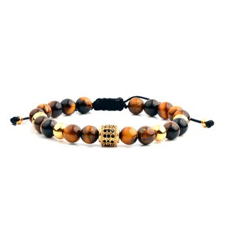 Men's Gold Plated Stainless Steel Cubic Zirconia Tiger Eye Bead Adjustable Bracelet - 8 inches (
