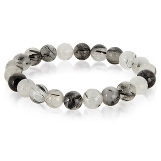 Crucible Men's Black Rutilated Quartz Natural Healing Stone Bead Stretch Bracelet - 8.5 inches (10mm Wide)