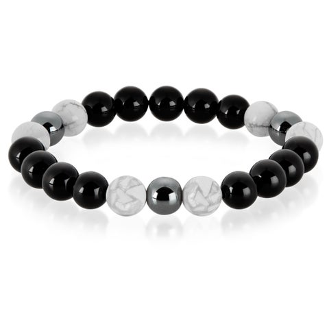 Crucible Howlite and Onyx Natural Healing Stone Bead Stretch Bracelet (10mm) - Black
