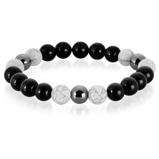 Crucible Men's Howlite, Onyx and Hematite Polished Natural Healing Stone Bead Stretch Bracelet - 8.5 inches (10mm Wide)